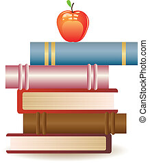 Red apple on book stack - Stack of books and red apple on...