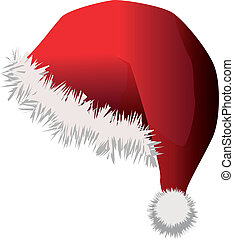 Santa hat - Illustration of red santa hat on white...