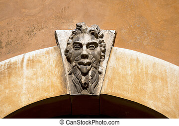 Grotesque Mask on an Old Arch Keystone - Verona Italy -...