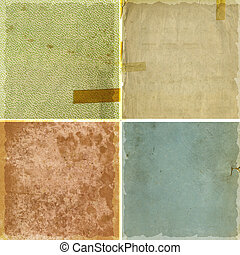 Collection of grunge paper textures - Collection of four...
