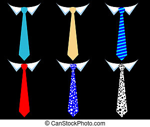 colored men's ties on a black background