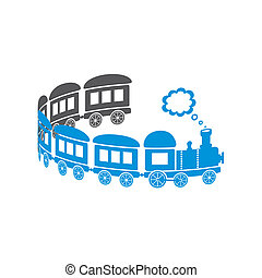 Train - Cute blue train on a white background - curl shaped...