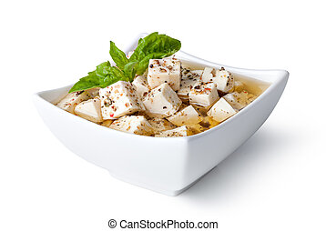 feta cheese - Cubed feta cheese on a white  background