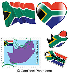 national colours of South Africa - set of different symbols...