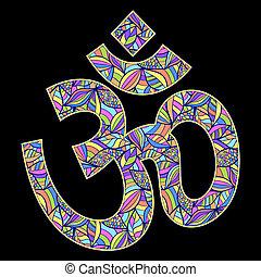 Om symbol on black background - Vector illustration of Om...