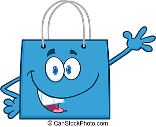 Smiling Blue Shopping Bag Cartoon Mascot Character Waving...