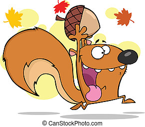 Crazy Squirrel Running With Acorn - Crazy Squirrel Cartoon...