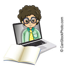 A curly man inside the laptop with an empty paper in front