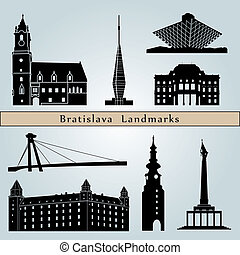 Bratislava landmarks and monuments isolated on blue...