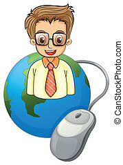 Illustration of a smiling young businessman above the globe with a computer mouse on a white background
