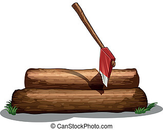 An axe and the two big woods - Illustration of an axe and...
