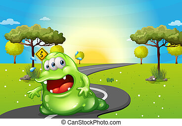 A green fat monster travelling - Illustration of a green fat...