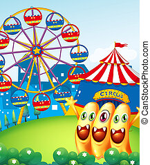 Three playful monster at the hilltop with a carnival -...