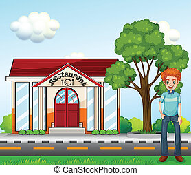 A man standing near the restaurant - Illustration of a man...