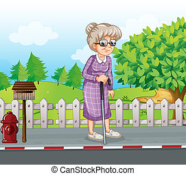 Illustration of an old woman at the street with a cane...