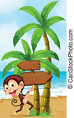 A beach with a playful monkey near the palm trees -...