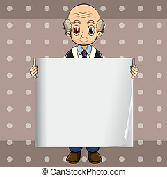 A bald oldman holding an empty signage - Illustration of a...
