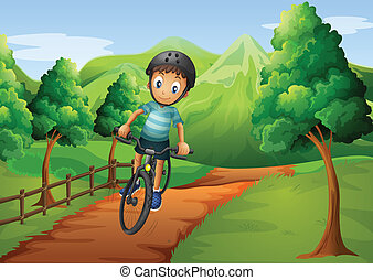 A boy biking going to the farm - Illustration of a boy...