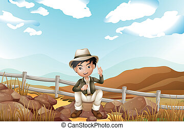 A handsome boy sitting at the rock - Illustration of a...