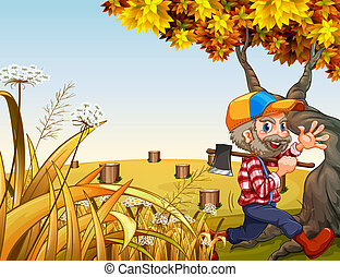 A hilltop with a smiling woodman carrying an axe -...