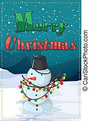 A christmas card with a snowman