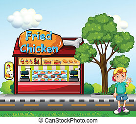 A young boy near the fried chicken store - Illustration of a...