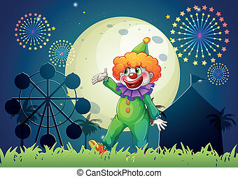 A carnival with a funny clown