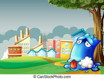 Illustration of a poisoned blue monster resting under the tree across the buildings