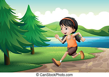 A girl running near the riverbank with pine trees -...