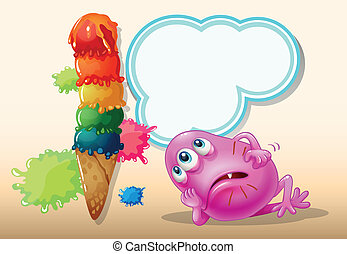 A dying pink beanie monster near the icecream