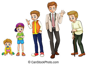 A man from childhood to adulthood - Illustration of a man...