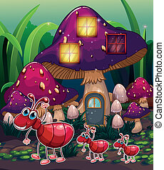 A colony of ants near the mushroom house - Illustration of a...