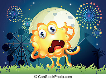 A carnival with a shocked orange monster