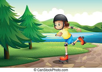 A young girl rollerskating at the riverbank with pine trees...