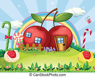 A hilltop with two apple houses and a rainbow - Illustration...