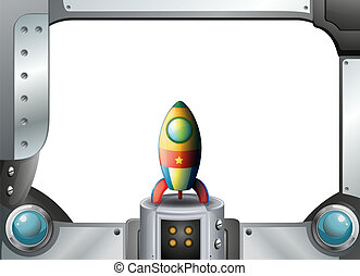 A metal frame border with a spaceship - Illustration of a...