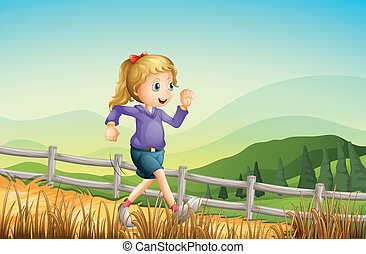 A girl running at the farm - Illustration of a girl running...