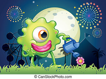 A monster watering the plant at the carnival - Illustration...