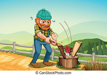 A man chopping the log above the stump - Illustration of a...