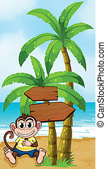 A worried monkey at the beach with an empty callout