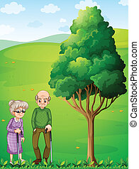 Two grandparents at the hill near the tree - Illustration of...