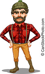 A scary lumberjack standing - Illustration of a scary...