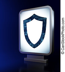 Privacy concept: Contoured Shield on billboard background