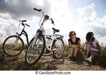 Ride a bike on the summer