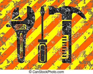 Work tools grunge background