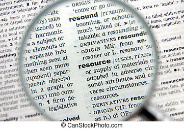 Definition of resource emphasized by a magnifying glass