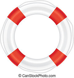 Lifebuoy with red stripes and rope salvation - Lifebuoy with...