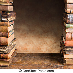 Border with antique books - Border frame image of two stacks...