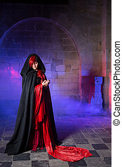 Gothic lady in medieval castle - Beautiful gothic victorian...