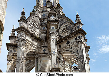 Pinnacle on the roof of the chateau of Chambord, the most...